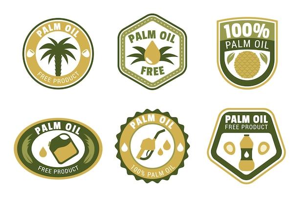 Pacote de design plano de emblemas de óleo de palma