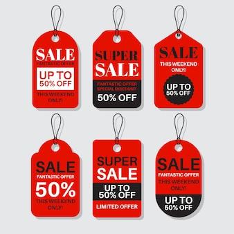 Pacote de design plano de etiquetas de vendas com descontos