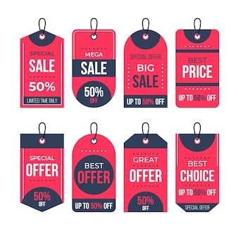 Pacote de design plano de etiquetas de vendas