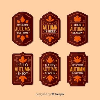 Pacote de design plano de rótulos outono