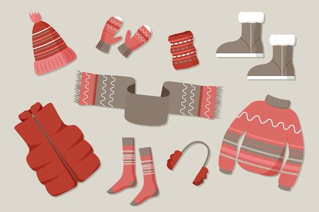 Pacote de design plano de roupas de inverno