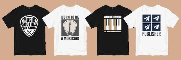 Pacote de designs de camisetas. camisetas musicais, designs, slogans, citações, pacotes