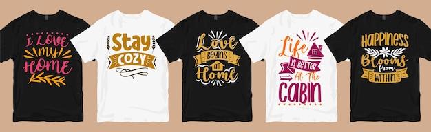 Pacote de designs de camisetas de tipografia de citações de casas, pacote de designs gráficos de camisetas para amantes da casa
