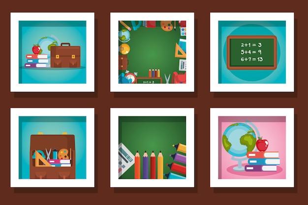 Pacote de designs de material escolar