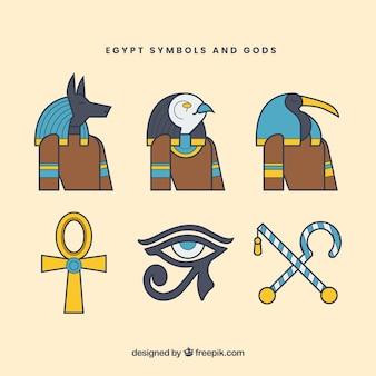 Pacote de deuses e símbolos do egito