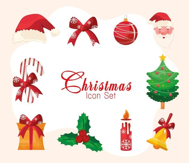 Pacote de dez ícones e letras do feliz natal feliz