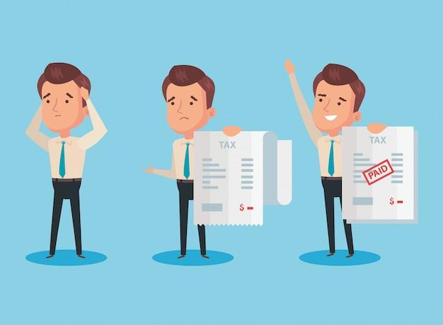 Pacote de dia do imposto pago com caracteres de empresários