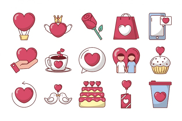 Pacote de dia dos namorados conjunto de ícones