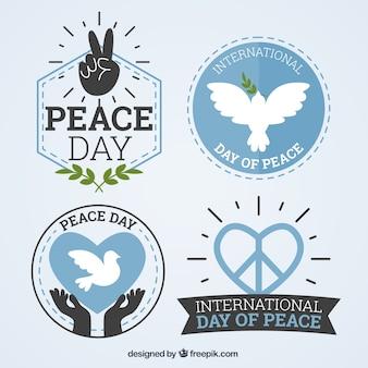 Pacote de dia internacional da paz emblemas bonitos