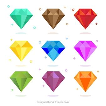 Pacote de diamantes coloridos em design plano