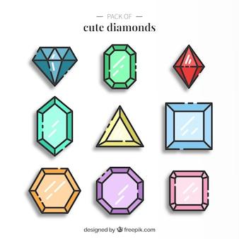 Pacote de diamantes lineares agradáveis