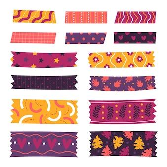 Pacote de diferentes fitas washi desenhadas