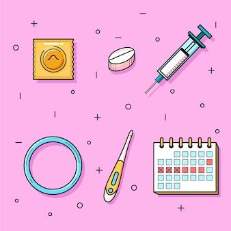 Pacote de diferentes métodos contraceptivos