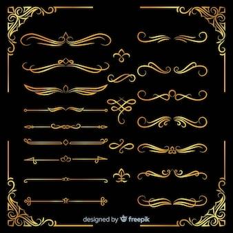 Pacote de diferentes ornamentos de ouro