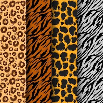Pacote de diferentes padrões de estampas de animais