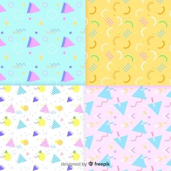 Pacote de diferentes padrões de memphis