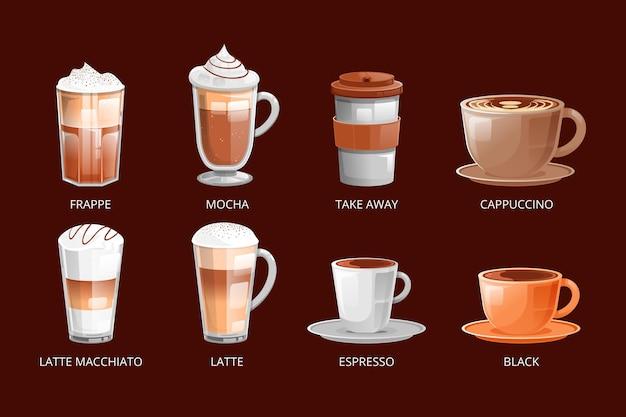 Pacote de diferentes tipos de café delicioso Vetor grátis
