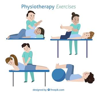 Pacote de diferentes tipos de exercícios de fisioterapia