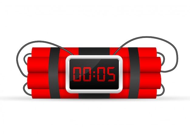 Pacote de dinamite vermelho com bomba-relógio elétrica