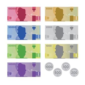 Pacote de dinheiro da rupia indonésia em design de arte plana