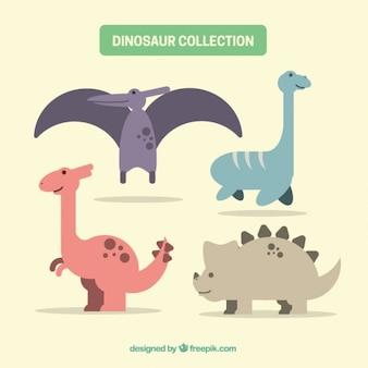 Pacote de dinossauros coloridos planas