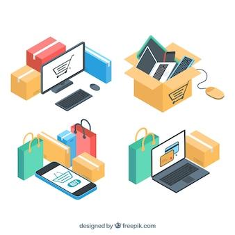 Pacote de dispositivos eletrônicos e compra on-line em estilo isométrico