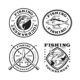 Pacote de distintivos de pesca vintage