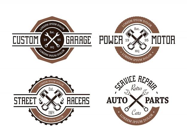 Pacote de distintivos de reparação de serviços retro
