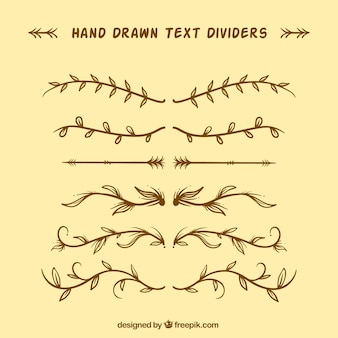 Pacote de divisórias douradas desenhadas a mão vintage
