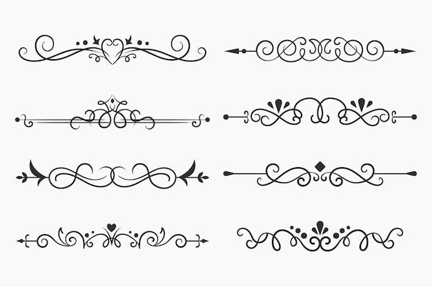 Pacote de divisórias ornamentais caligráficas