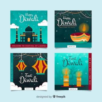 Pacote de diwali instagram posts