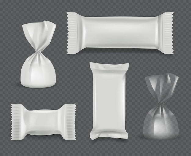 Pacote de doces. pacote brilhante de papel realista para bombons de chocolate