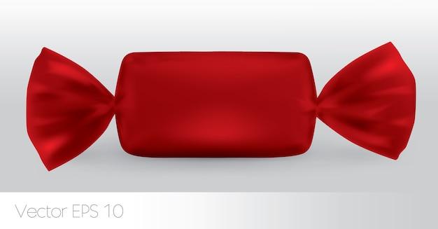 Pacote de doces retangulares vermelho