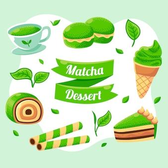 Pacote de doces verdes japanesse matcha verde