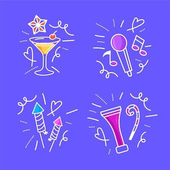 Pacote de doodles de ano novo desenhado à mão