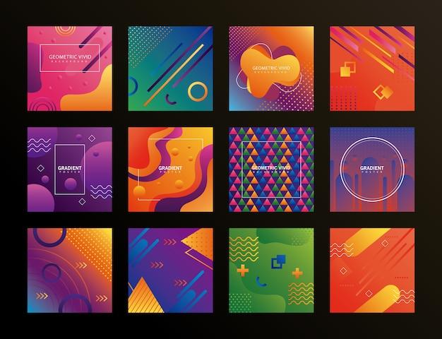 Pacote de doze fundos geométricos vívidos