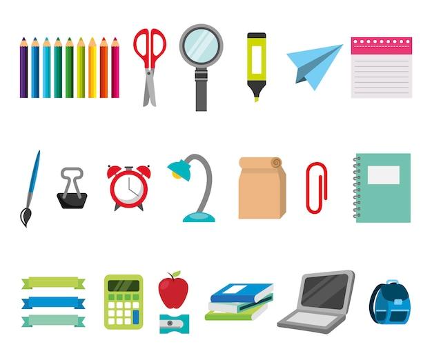 Pacote de educação aprendizagem conjunto de ícones