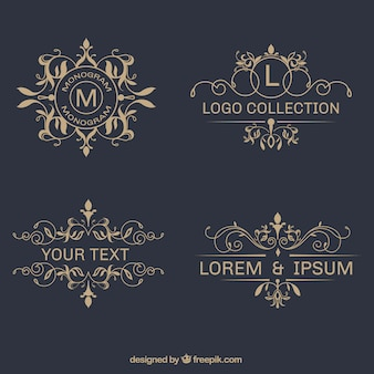 Pacote de elegante logos ornamental