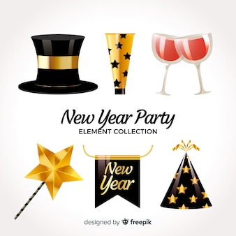 Pacote de elemento de festa de ano novo