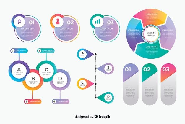 Pacote de elemento de infográfico de negócios criativos