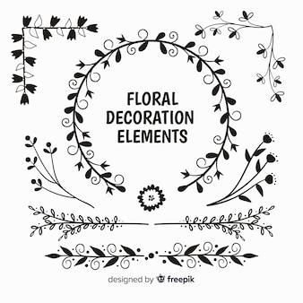 Pacote de elemento decorativo floral incolor