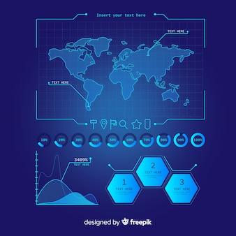 Pacote de elemento futurista infográfico