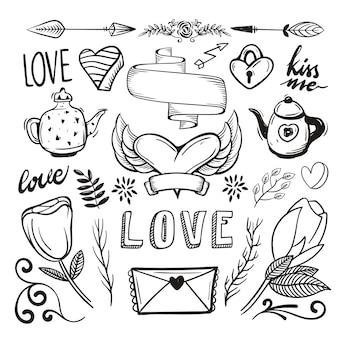 Pacote de elemento romântico de mão desenhada