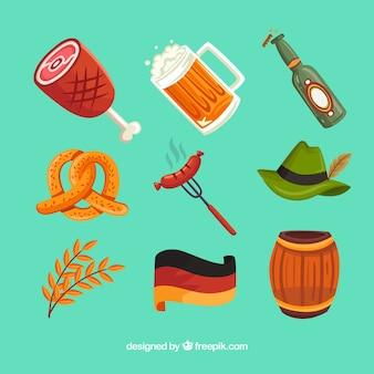 Pacote de elementos alemães coloridos