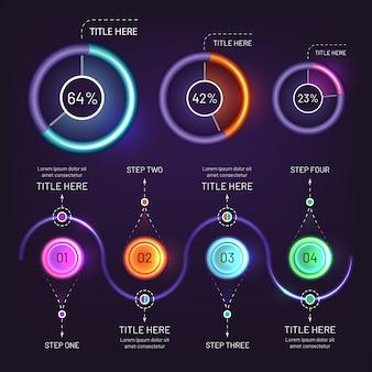Pacote de elementos brilhantes infográfico