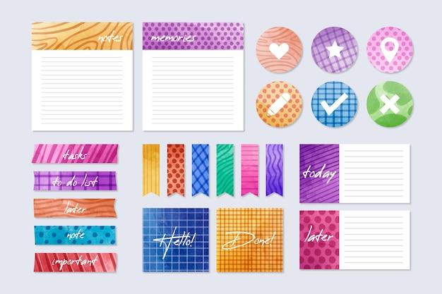 Pacote de elementos coloridos de página de recados de planejamento