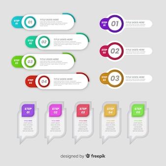 Pacote de elementos coloridos infográfico