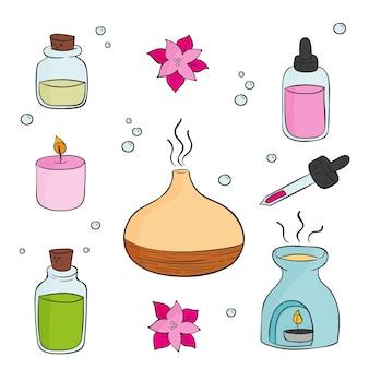 Pacote de elementos de aromaterapia desenhado à mão