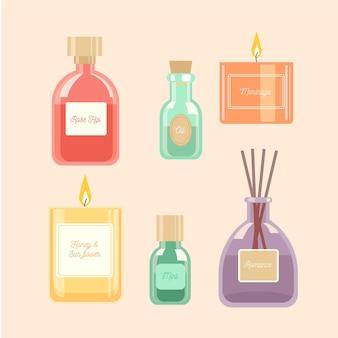 Pacote de elementos de aromaterapia desenhado