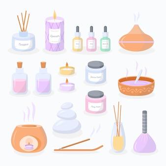 Pacote de elementos de aromaterapia desenhados à mão plana